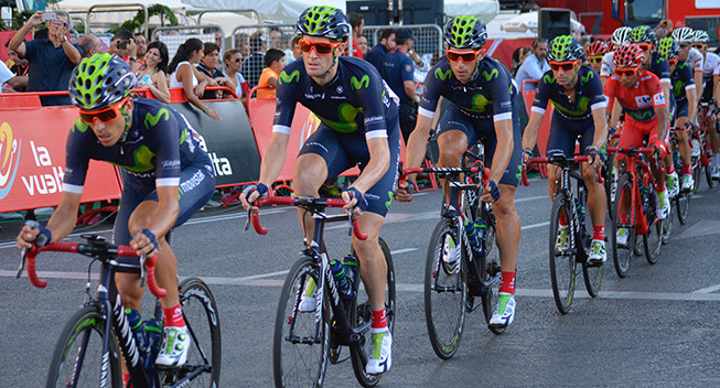 Vuelta2016 21 etape Movistar Team i feltet