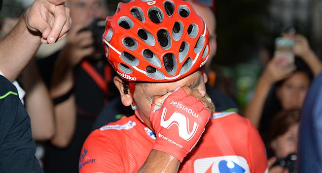 Vuelta2016 21 etape Nairo Quintana efter etapen rort