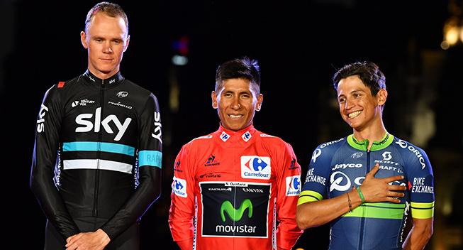 Vuelta2016 21 etape podiet Nairo Quintana - Chris Froome og Johan Esteban Chaves