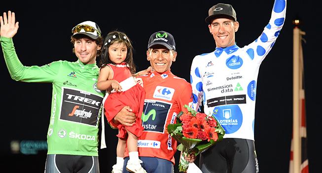 Vuelta2016 21 etape podiet trojerne Felline - Quintana og Fraile