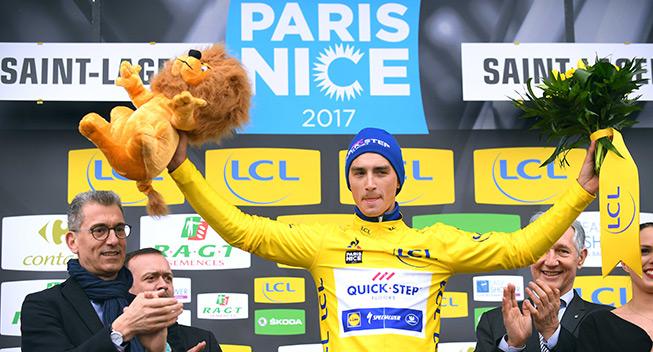 Paris Nice 4 etape 2017 Julian Alaphilippe podiet